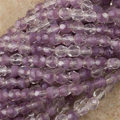 100 Czech Fire Polished 4mm Round Bead Amethyst Crystal (26028)