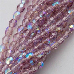 100 Czech Fire Polished 3mm Round Bead Mid. Amethyst AB (20040X)