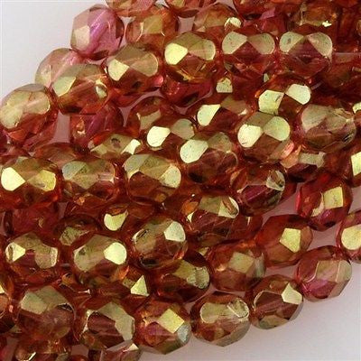 50 Czech Fire Polished 6mm Round Bead Rosaline Luster (14495)