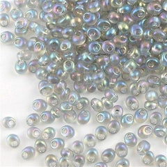 Miyuki 4mm Magatama Seed Bead Transparent Pale Gray AB 15g (2136)