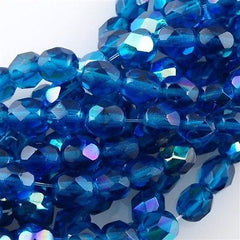 50 Czech Fire Polished 6mm Round Bead Capri Blue AB (60080X)