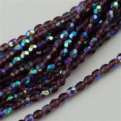 100 Czech Fire Polished 4mm Round Bead Amethyst AB (20060X)