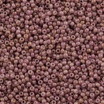 Toho Round Seed Bead 8/0 Opaque Beige Pink Marbled 30g (1201)