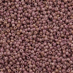 Toho Round Seed Bead 8/0 Opaque Beige Pink Marbled 5.5-inch tube (1201)