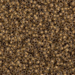 Toho Round Seed Beads 11/0 Inside Color Lined Matte Gold 15g (989F)