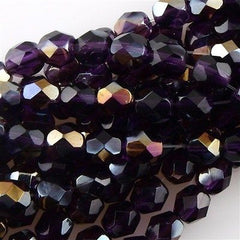 50 Czech Fire Polished 6mm Round Bead Tanzanite Twilight (20510W)