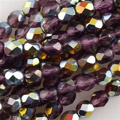 100 Czech Fire Polished 4mm Round Bead Amethyst Vitrail (20060V)