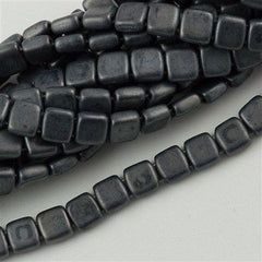 50 CzechMates 6mm Two Hole Tile Beads Matte Hematite (14400M)
