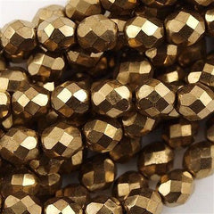 50 Czech Fire Polished 6mm Round Bead Bronze (90215)