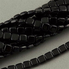 50 CzechMates 6mm Two Hole Tile Beads Jet Black (23980)