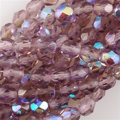50 Czech Fire Polished 8mm Round Bead Mid Amethyst AB (20040X)