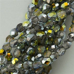 100 Czech Fire Polished 3mm Round Bead Crystal Marea (28001)