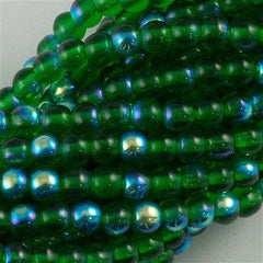 200 Czech 4mm Pressed Glass Round Beads Green Emerald AB (50140X)