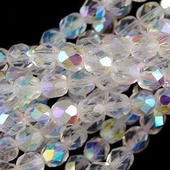 50 Czech Fire Polished 8mm Round Bead Crystal AB (00030X)