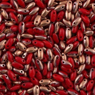 Czech Rizo 2.5x6mm Beads Opaque Red Capri Gold 15g RZ-93200CAG
