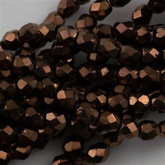 100 Czech Fire Polished 3mm Round Bead Dark Bronze (14415)