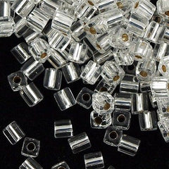 Miyuki 3mm Cube Seed Bead Silver Lined Crystal 15g (1)