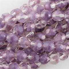 50 Czech Fire Polished 6mm Round Bead Amethyst Crystal (26028)