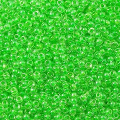 Toho Round Seed Bead 8/0 Inside Color Lined Bright Green 30g 8-805