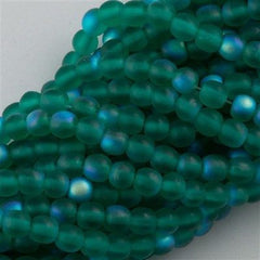 100 Czech 6mm Pressed Glass Round Beads Matte Emerald AB (50730MX)