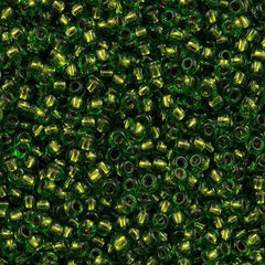 Toho Round Seed Beads 11/0 Copper Lined Peridot 15g (742)