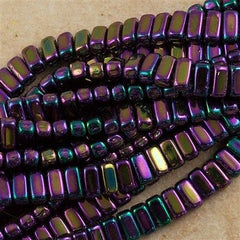 50 CzechMates 3x6mm Two Hole Brick Beads Purple Iris (21495)