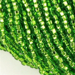 Czech Seed Bead Transparent Light Green Silver Lined 1/2 Hank 11/0 (57430)