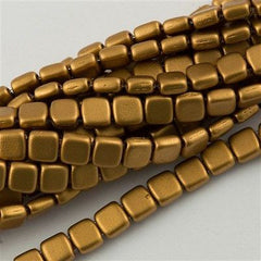 50 CzechMates 6mm Two Hole Tile Beads Matte Metallic Goldenrod T6-01730K