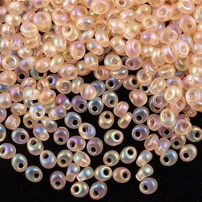 Miyuki 4mm Magatama Seed Bead Transparent Light Peach AB 15g (2132)