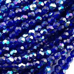 100 Czech Fire Polished 4mm Round Bead Cobalt AB (30090X)