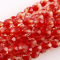 50 Czech Fire Polished 6mm Round Bead Crystal Siam Ruby (90091)