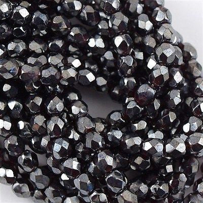 100 Czech Fire Polished 4mm Round Bead Hematite Luster Garnet (90110HL)