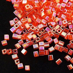 Miyuki 4mm Cube Seed Bead Transparent Orange AB 15g SB4-253