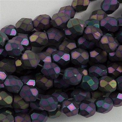 100 Czech Fire Polished 4mm Round Bead Matte Purple Iris (21195)