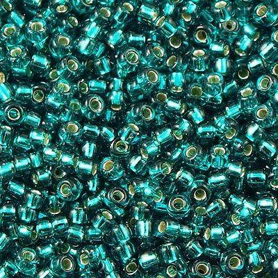 50g Miyuki Round Seed Bead 11/0 Silver Lined Teal (2425)