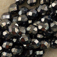 50 Czech Fire Polished 8mm Round Bead Hematite (14400)
