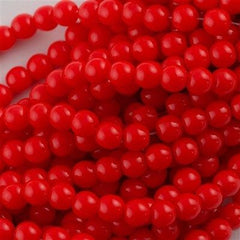 100 Czech 6mm Pressed Glass Round Beads Opaque Red (93200)
