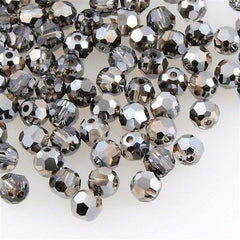 Swarovski 6mm 5000 Round Bead Crystal Silver Night (001 SINI)