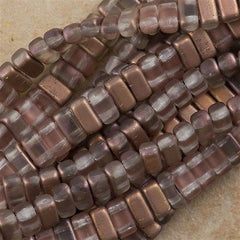 50 CzechMates 3x6mm Two Hole Brick Beads Matte Apollo Gold BR-27171