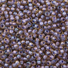 Toho Round Seed Bead 8/0 Inside Color Lined Lilac Amber 5.5-inch tube (926)