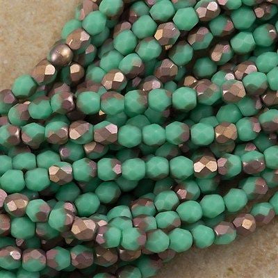 100 Czech Fire Polished 3mm Round Bead Matte Green Turquoise Apollo (53130AM)