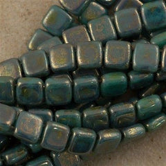 50 CzechMates 6mm Two Hole Tile Beads Turquoise Bronze Picasso (63130BT)