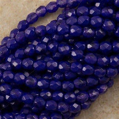 100 Czech Fire Polished 4mm Round Bead Coated Tanzanite (32040K)