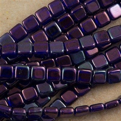 50 CzechMates 6mm Two Hole Tile Beads Cobalt Vega (30090E)