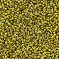 Toho Round Seed Bead 15/0 Inside Color Lined Yellow Green 2.5-inch Tube (246)