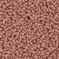 Toho Round Seed Bead 15/0 Opaque Matte Shell Pink 2.5-inch Tube (764)