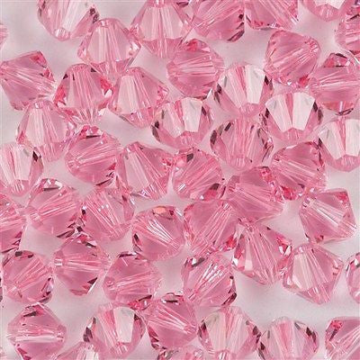 24 Swarovski 5328 Xilion 6mm Bicone Bead Light Rose (223)