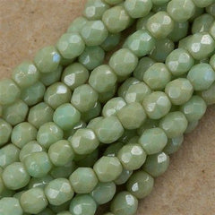 100 Czech Fire Polished 4mm Round Bead Opaque Pale Turquoise Star Dust (63100ST)