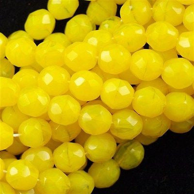50 Czech Fire Polished 8mm Round Bead Milky Yellow (81210)