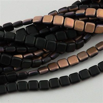 50 CzechMates 6mm Two Hole Tile Beads Matte Apollo Jet (23980AM)